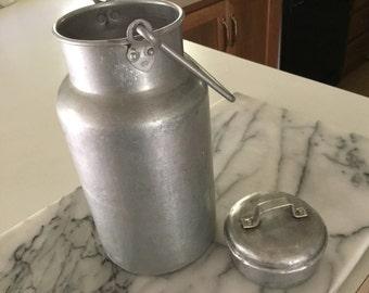 Aluminum 2 Quart Cream Milk Pail/ Holder/Lidded Holder