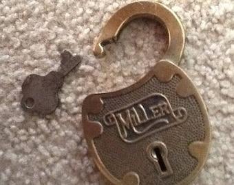 Vintage MILLER LOCK with Original KEY**Sale Priced**