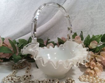Fenton Silver Crest White Milk Glass Wedding Basket