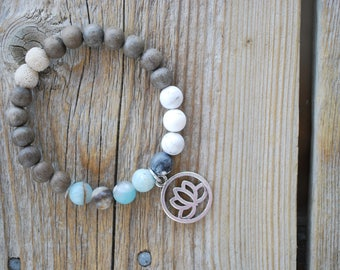 Essential oil diffuser bracelet yoga bracelet mala beads meditation beads yoga beads amazonite bracelet graywood frosted howlite lava beads