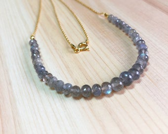 Labradorite Necklace, Labradorite Gold Chain Necklace, 24k Gold Vermeil Necklace, Labradorite Choker, Gift for Her