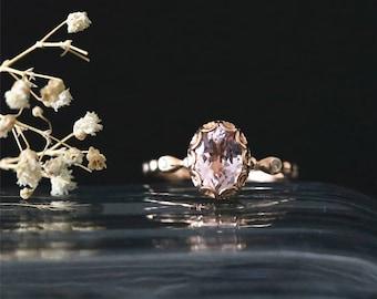 Vintage Bezel Ring Setting Natural 8*6mm Oval Cut Morganite Ring 14K Rose Gold Morganite Engagement Ring Stackable Bridal Ring Gemstone Ring