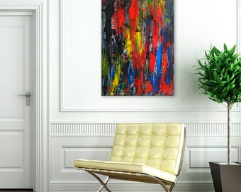 Original Textured Painting on Canvas - Abstract Multicolored Wall Art Made with Acrylic Paint - Large Contemporary Art  - Modern Home decor