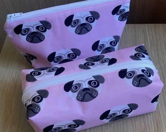 Pug Dog Cosmetic Bag Set, Pugs Make Up Bags, Cosmetic Purse