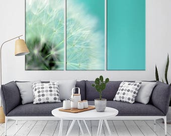 DANDELION Flower Wall Art Canvas Print, Large Canvas Dandelion Floral Wall Art,
