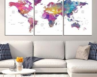 World Map Canvas PRINT, World Map Canvas Art, Large World Map PUSH Pin Canvas Print, World Map, World Map Art Print, World Map Wall Art,