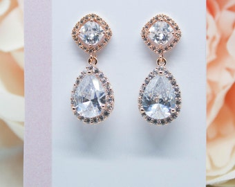 Rose gold earrings square crystal wedding jewelry Bridal jewelry