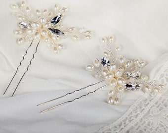 2pcs SET Beautiful Wedding Pearls and Crystals Bridal Hair Pins