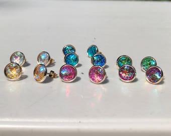 Small 8MM Rose Gold Mermaid Earrings, HYPOALLERGENIC, Stud Earrings, Earring, Boho Jewelry, Rose Gold, Mermaid Scales