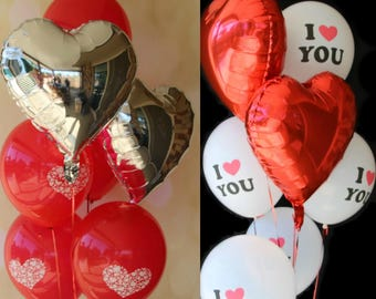 Love Heart Balloons Set - I Love You - 7 Balloons - Valentines Day Gift / Wedding Balloons / Engagement Party Decorations /Proposal Ideas -