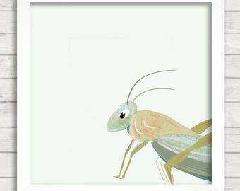 Baby grasshopper giclée print, Baby Animal Print, Baby grasshopper wall art, Nursery Art, Kids Wall Décor, Animal Painting, Grasshopper Art
