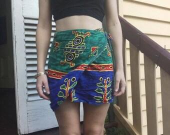 vintage print wrap skirt