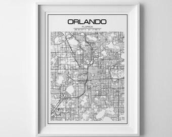 Orlando Map Etsy - Orlando on the us map