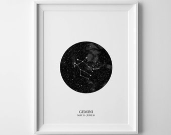 gemini print, zodiac print, gemini poster, gemini constellation, gemini art, gemini, constellation print, gemini star sign, gemini wall art