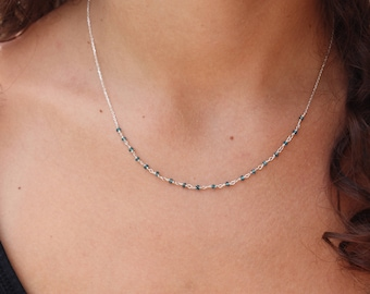 Apatite Necklace - Sterling Silver Chocker - Precious  Necklace - Necklace Chocker - Chain Necklace - Beaded Necklace - Rosary Necklace