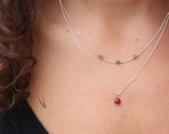 Ruby Necklace-Double necklace-Layered Necklace -Ruby Chocker Necklace-Ruby Pendant-Genuine Ruby-Dainty Necklace-Ruby Layered Necklace
