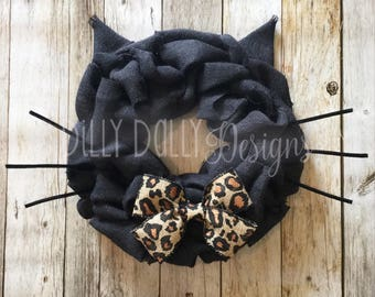 SALE - Burlap Halloween Wreath - Cat Wreath - Fall Wreath - Halloween - Fall - custom gift - neutral burlap wreath - custom