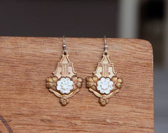 Art Deco Brass and Vintage Rhinestone Earrings French Brass Antique Vintage Style