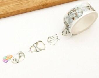 20mm Love Life Washi Tape - Panda (1 pc) Japanese Stationery Cute Masking Tape Wide Deco Tape