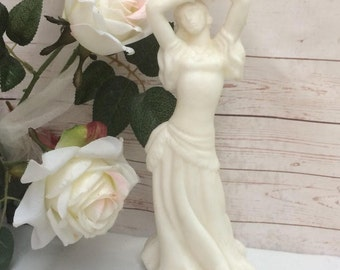 Antique statue of Woman Alabaster Bust of Lady, Statuette female bust Vintage Classical White ivory Ceramic Statue of a dancing girl, dancer