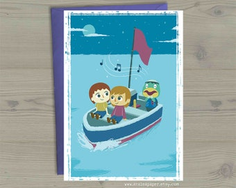 Animal Crossing Valentines Anniversary Nerdy Geek Anime Kapp'n Island Love Song Boat Ride Greeting Card