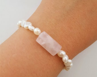 Pearl and rose quartz bracelet with silver clasp | handmade jewelry by Cobaja