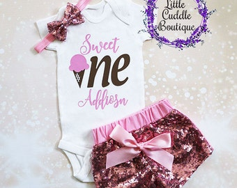 Personalized Ice Cream Birthday Outfit, First Birthday Outfit, Ice Cream Onesie, Ice Cream Bodysuit, Ice Cream Party, Birthday Girl Outfit