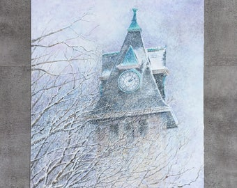 Bell Tower Original Watercolor/Acrylic Painting
