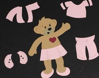 Stampin Up Build-A-Bear Die Cut set Pink & Blue