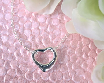 Beautiful Modern Heart Charm Necklace Sterling Silver
