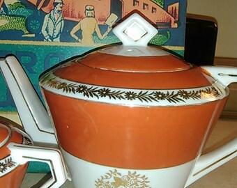 Vintage 1950's Tashiro Shoten Elephant Mark Hand Painted Japan Gold Flower Design Orange Teapot Sugar Set