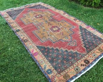 "Floor rug,anatolion rug.4""2x8ft.vintage oushak rug,turkish rug,anatolion rug,office deco rug,oushak rug,area rug,desing rug,carpet,rugs,rug."