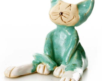 Teal Cat | Lazy Cat | Gift for a Cat Lover | Quirky Gift or Home Decor | Beautifully Handmade Ceramic