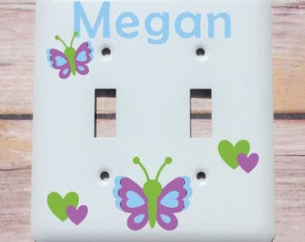Personalized Nursery Decor, Custom Baby Shower Gift, Personalized Baby Gift, Childs Light Switch Plate, Kids Butterfly Decor, Switch Cover