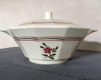 Ceramic tureen Sarreguemines Arnetta cream Faience french old soup tureen earthenware ceramics