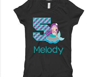 Mermaid Birthday Shirt - Purple Mermaid Birthday Shirt - 5th Birthday Shirt - Fifth Birthday Shirt 5 - Girls BIrthday