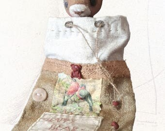 """Fluffy toy with relief-face. Attic Umber Bear (""""teddy"""")"""