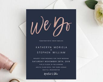 Navy Blue & Rose Gold Wedding Invitation Template, We Do Wedding Invitation Printable Template, Wedding Invitations PDF Instant Download