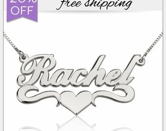 Name Necklace • Underlined Name Necklace With Heart • Silver Heart Necklace • Customized Name Necklace with Heart • Best Gift for Women Girl