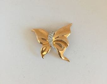 Vintage Stylized Butterfly in Gold Metal and Rhinestones