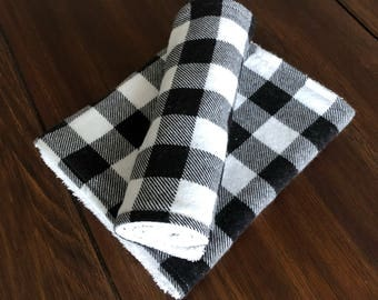 Black and White Burp Cloths, Terry Cloth Backs, Set of 4