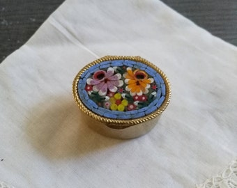 Very little metal box gilded with vintage mosaic flower. Flower pill box. Trinket Box