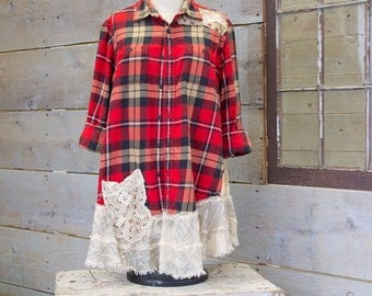 Flannel Shirt - Tunic  - Boho Clothing - Upcycled - Womens Sm - Med A- Line Style - Jacket , Red Plaid Vintage Lace Cross