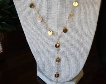 Coin Lariat Long Necklace