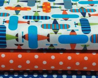 FREE GIFT with Purchase - Robert Kaufman Ready, Set, Go! /Airplanes/Bright/Cotton/Fabric/Sewing/Quilting