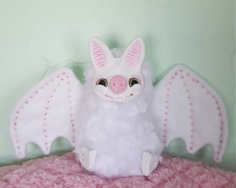 Kawaii albino bat ooak art doll