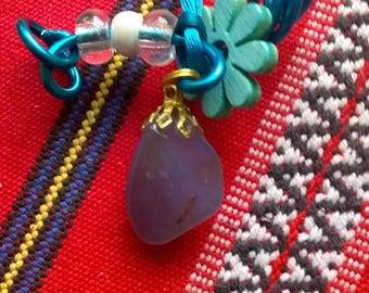 Gem chalcedony, the dream for MOM, transparent beads necklace. Pearl and small wooden flower.