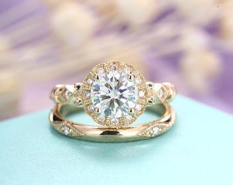 Vintage Moissanite engagement ring set antique Art deco engagement ring Floral Rose gold wedding ring women gift Flower Bridal Jewelry
