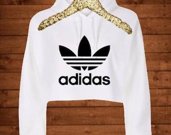 Adidas - Crop Top - Sweatshirt - Hoodie SUPER Soft - trendy - sporty - glitter - bling - workout - Womens - white