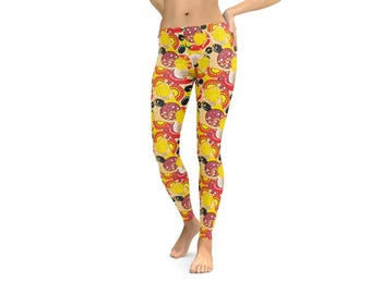 Pizza Toppings Leggings or Capris Woman's Printed Leggings Yoga Workout Exercise Crazy Pizza slices Print Pants